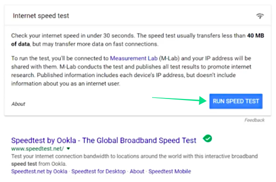 New Speed Test by Google Right from Google Homepage